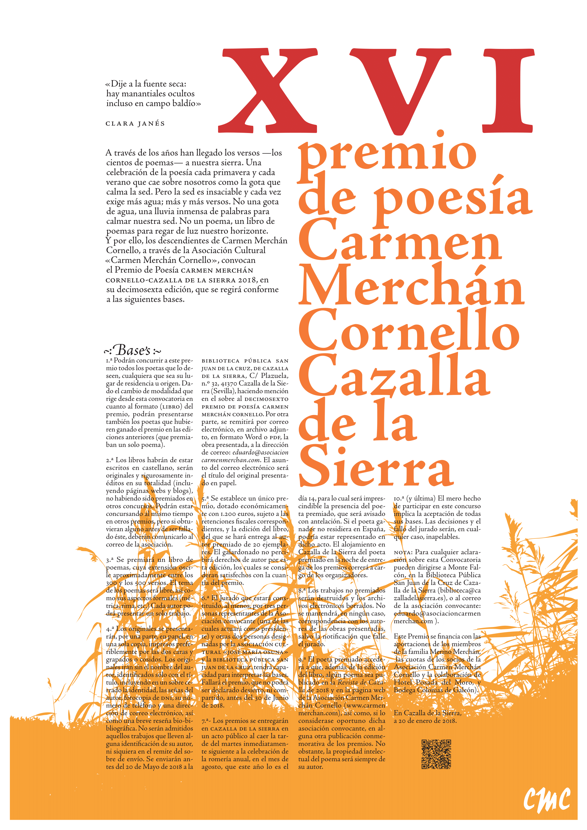 Cartel del XVI premio de Poesía carmen Merchán Cornello
