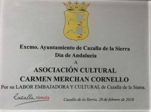 Premio a la labor de embajadores de Cazalla a la asociación
